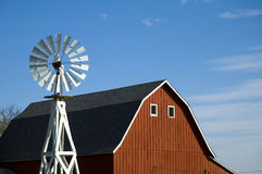 Barn and Windmill. A red barn and windmill on an Iowa farm royalty free stock photos