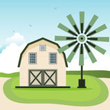 Barn. With a windmill in the background sky Royalty Free Stock Photo