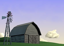 Barn and Windmill Scene. 3D illustration of a barn with a windmill in the foreground Stock Photography