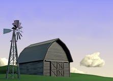 Barn and Windmill Scene Stock Photography