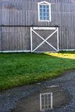 Barn Window Reflection stock photo