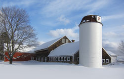 Barn in winter. Barn with silo covered in snow during New England winter Royalty Free Stock Photography