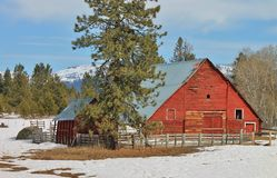 Barn in winter. Red barn during the winter Stock Photo