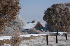 Barn and Winter Trail Stock Images
