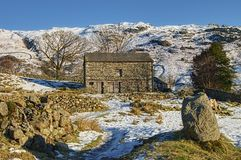 Barn in Wintry countryside Stock Photography