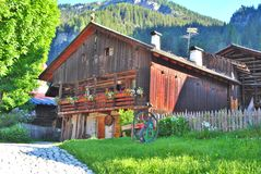 Barn wood. In Val di Fassa in the Italian Dolomites royalty free stock photo