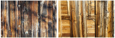 Barn wood wall weathered background collage Royalty Free Stock Photography