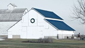 Barn With Wreath Stock Image