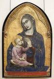 Barnaba Da Modena antycznych dziecka ikon rosyjskich sylwetek wektorowa dziewica Vers 1370-1375 luwr Fotografia Stock