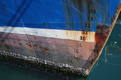 Barnacled渔船弓 库存照片
