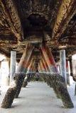 Barnacles growing on pillars Royalty Free Stock Image