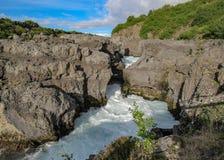Barnafossar: reeks stroomversnelling op de Rivier van HvÃtà ¡, Borgarfjordur-gebied, West-IJsland, Europa stock afbeelding