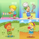 Barnaktiviteter stock illustrationer