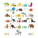 Barnalfabet med gulliga tecknad filmdjur och annan rolig elem Royaltyfria Bilder