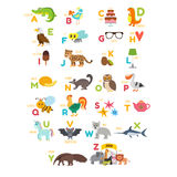 Barnalfabet med gulliga tecknad filmdjur och annan rolig elem Fotografering för Bildbyråer