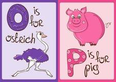 Barnalfabet med roliga djur struts och svin Royaltyfria Bilder