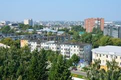 Barnaul,俄罗斯的中心的看法从弗累斯大转轮的 免版税库存照片
