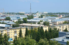 Barnaul,俄罗斯的中心的看法从弗累斯大转轮的 库存图片