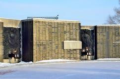 Barnaul,俄罗斯, 2016年1月, 14日 没人,纪念品的片段以记念在巨大爱国战争中下落的在Barnaul 库存照片