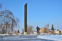 Barnaul,俄罗斯, 2016年1月, 14日 没人,胜利正方形在Barnaul 库存照片