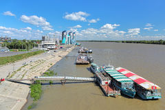Barnaul River Station and modern buildings on the shore of Ob River Stock Image