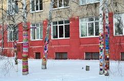 Barnaul, Rusia, enero, 14, 2016, nadie, troncos de los árboles de abedul, adornados con las pinturas brillantes ató el gancho Fotografía de archivo libre de regalías