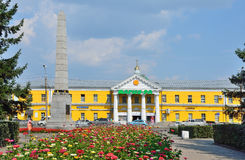Barnaul, Russia, August, 17, 2016. Demidov`s column on Demidov square in Barnaul in the summer Royalty Free Stock Photo