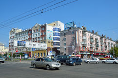 Barnaul, Russia, August, 17, 2016. The intersection of Lenin  avenue and Dimitrov street in the city of Barnaul in the summer Royalty Free Stock Photography