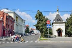 Barnaul, Russia, augusta, 17, 2016 Cappella di Alexander Nevsky sul viale di Lenin in Barnaul Immagini Stock Libere da Diritti