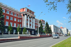 Barnaul, Russia, augusta, 17, 2016 La costruzione del tribunale regionale di Altai di Barnaul Immagini Stock Libere da Diritti