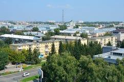 Barnaul, Russia, augusta, 17, 2016 Vista del centro di Barnaul dalla ruota panoramica, Russia Immagine Stock Libera da Diritti