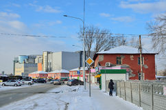 Barnaul, Russia, January, 13, 2016, cars on Pionerov street in the center of Barnaul Royalty Free Stock Images