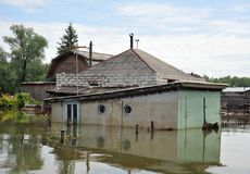 The flooded garage. The river Ob, which emerged from the shores, flooded the outskirts of the city. royalty free stock photography
