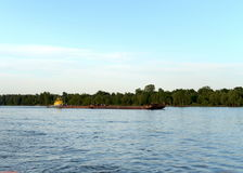 Tug-pusher `Ruslo` on the river Ob. Royalty Free Stock Photography