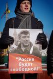 Barnaul, Russia-February 24, 2019.Picket on the anniversary of the death of Boris Nemtsov.People with posters `Russia without Puti