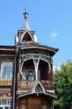 Barnaul Ryssland, Augusti, 17, 2016 Köpmanhus av Shadrins på den Krasnoarmeysky avenyn i Barnaul dekorativa element Royaltyfria Bilder