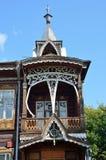 Barnaul Ryssland, Augusti, 17, 2016 Köpmanhus av Shadrins på den Krasnoarmeysky avenyn i Barnaul dekorativa element Arkivfoto