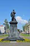 Barnaul Ryssland, Augusti, 17, 2016 Monumentet till Vladimir Lenin i mitten av Barnaul på den Lenin avenyn, Ryssland Arkivbilder
