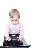 barnbärbar datorworking Arkivbild