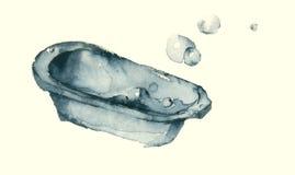 Barnbad med blå vattenfärgillustr för bubblor Arkivfoton