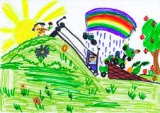 Barnbanhoppning i bil över kullen tecknande faderson vektor illustrationer