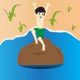 Barnbanhoppning in i vattnet Arkivfoton