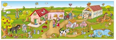 Barnbindemedel, en gladlynt lantgård med många djur royaltyfri foto