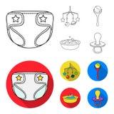 Barnblöjor, en leksak över lathunden, en pladder, barn badar Behandla som ett barn födda uppsättningsamlingssymboler i översikten royaltyfri illustrationer