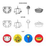 Barnblöjor, en leksak över lathunden, en pladder, barn badar Behandla som ett barn födda uppsättningsamlingssymboler i lägenheten royaltyfri illustrationer