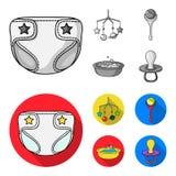 Barnblöjor, en leksak över lathunden, en pladder, barn badar Behandla som ett barn födda uppsättningsamlingssymboler i monokrom,  vektor illustrationer