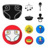 Barnblöjor, en leksak över lathunden, en pladder, barn badar Behandla som ett barn födda uppsättningsamlingssymboler i svart, läg Arkivfoto