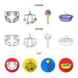 Barnblöjor, en leksak över lathunden, en pladder, barn badar Behandla som ett barn födda uppsättningsamlingssymboler i tecknad fi Arkivbild