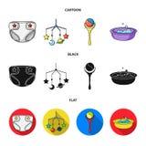 Barnblöjor, en leksak över lathunden, en pladder, barn badar Behandla som ett barn födda uppsättningsamlingssymboler i tecknad fi Arkivbilder