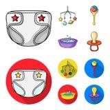 Barnblöjor, en leksak över lathunden, en pladder, barn badar Behandla som ett barn födda uppsättningsamlingssymboler i tecknade f Royaltyfria Bilder